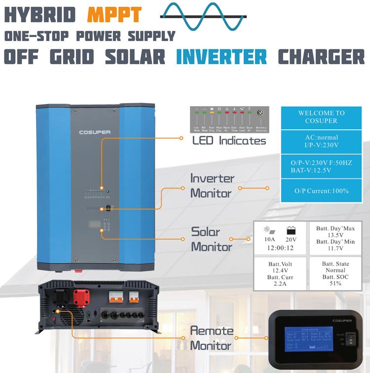 offgrid 3000 watt 12 v 220 v solar power inverter with lcd display 3000 w