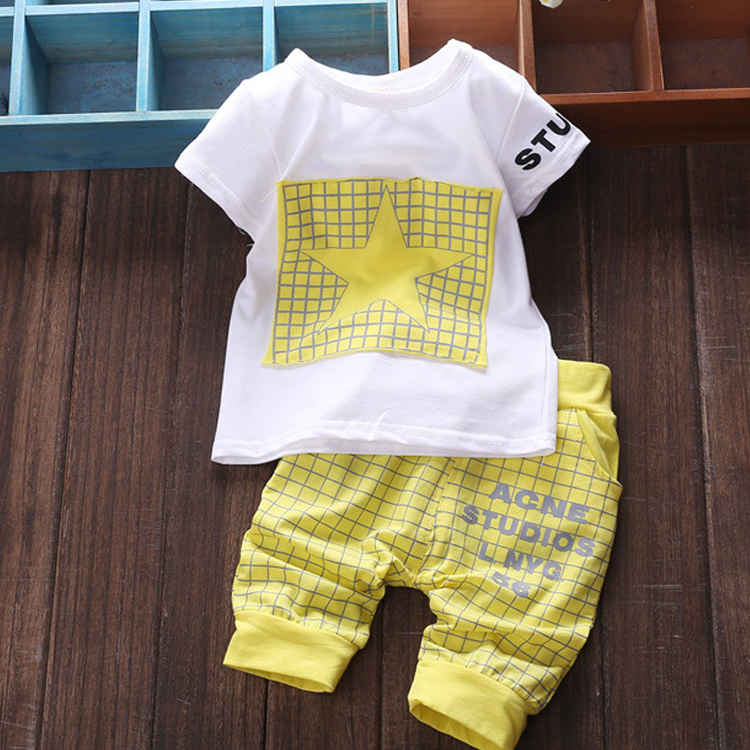 4a75f6f235f Baby Boy Clothes Summer Kids clothes Sets T-Shirt Pants Suit Clothing Set  Star Printed Newborn Sport Suits