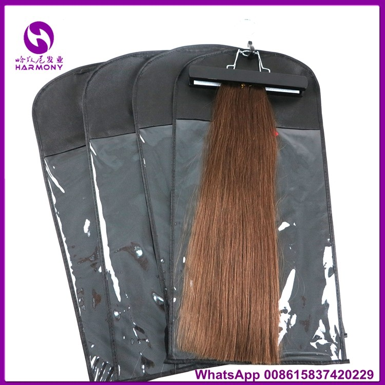 Customized Black Pink White Pvc Non Woven Hair Extension Package