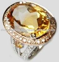 18k White Gold Citrine Ring With Diamonds Designs For Men