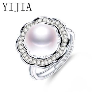 Pearl Rings 2018 New Flower Shape Design 925 Sterling Silver Ring Big Size 11-12mm Pearl Wedding Jewelry Engagement ring