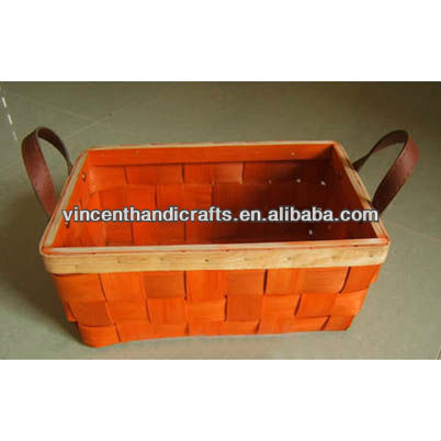 Cheap orange wooden toy collect basket with PU handles