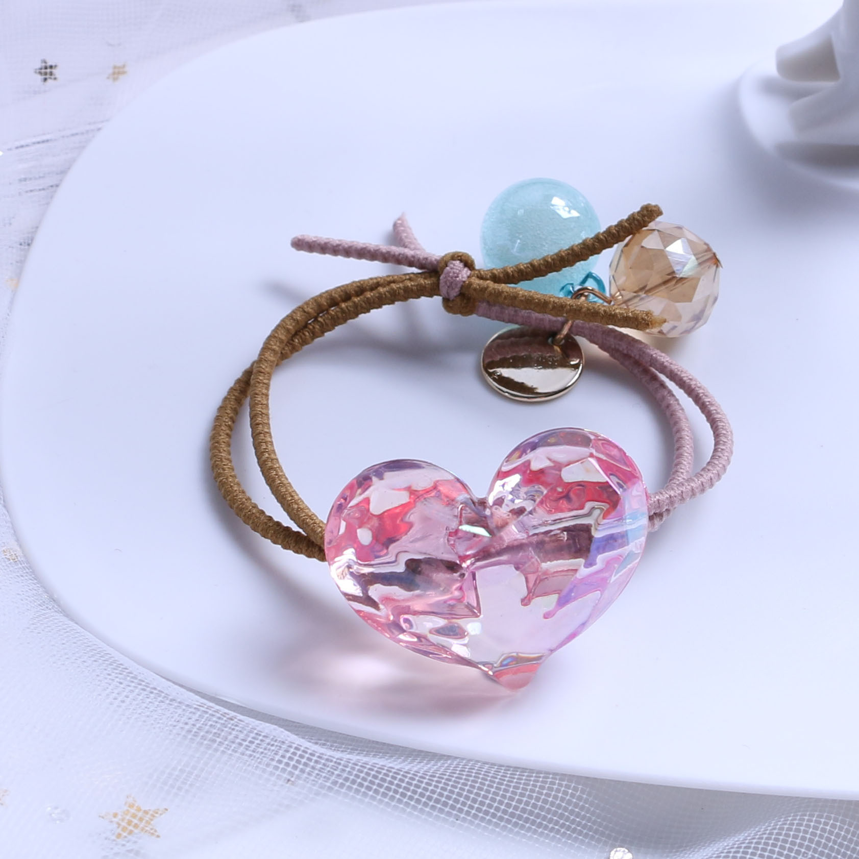 China Wholesale  multi pattern girls crown hair ring rope elastic