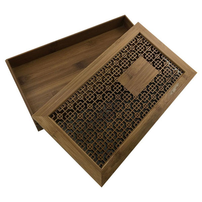 Handmade laser cut bamboo storage box with lid and base