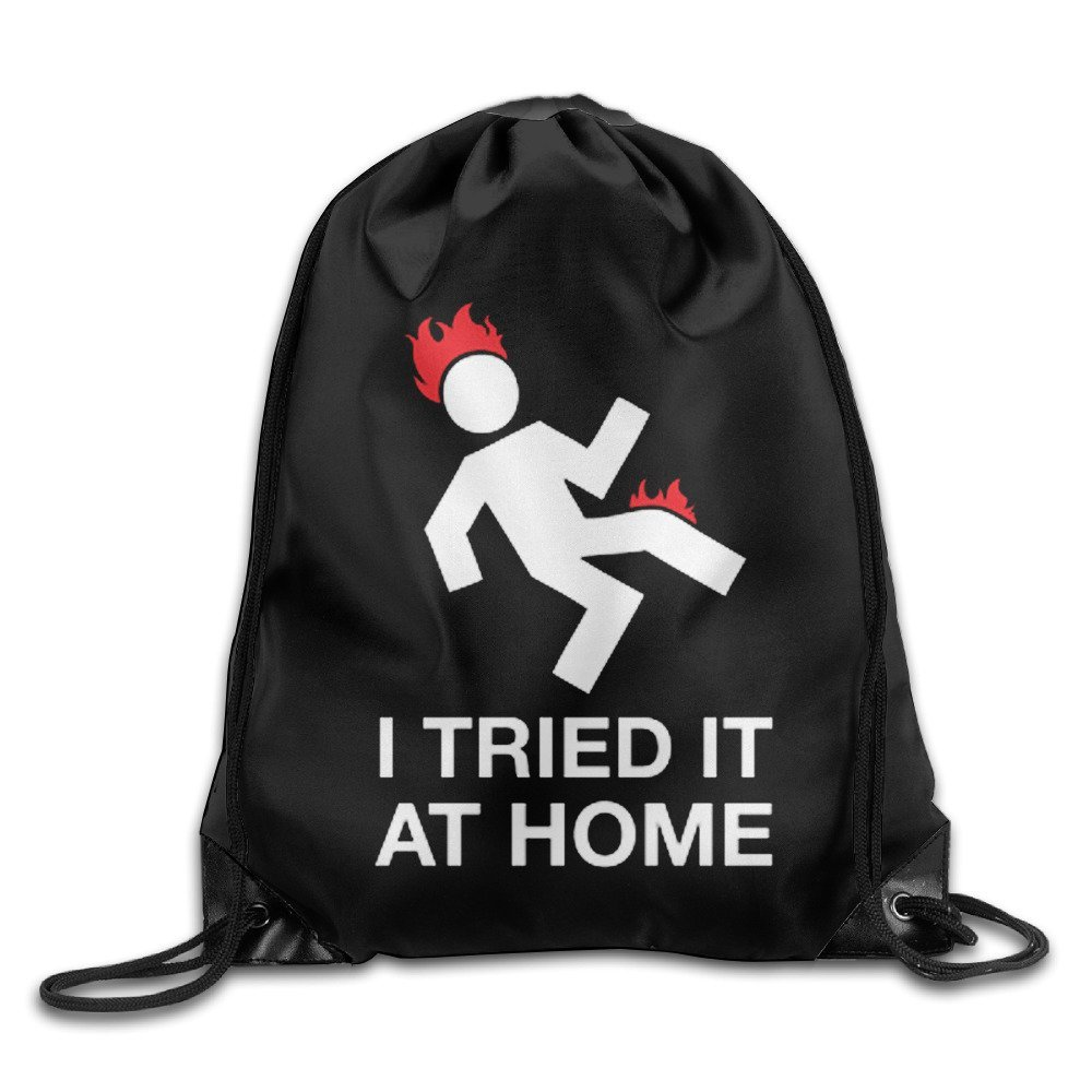 I TRIED IT AT HOME Flame Drawstring Backpack Spacious Drawstring Hiking Backpack Bags