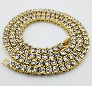 Tennis Glue Diamond Cuban Link Chain Necklace Hip Pop Style Jewelry 14K Gold  Plating High Quality 51a144d78acb