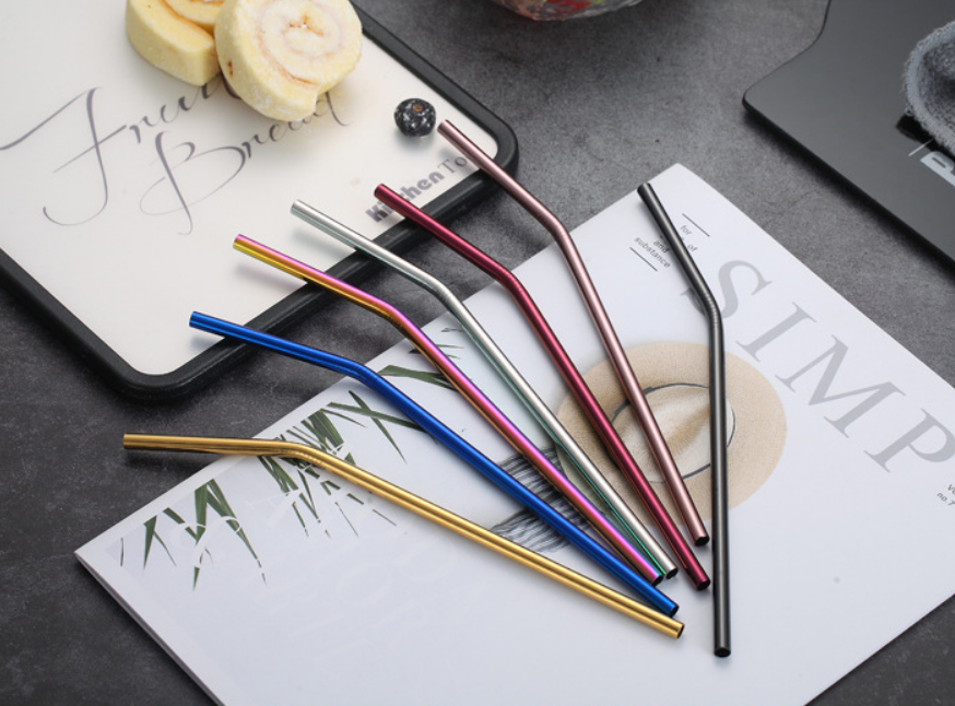 21.5cm FDA ss304 Customs Stainless Steel Straws Set Metal Straw with Cleaning Brush for Drinking