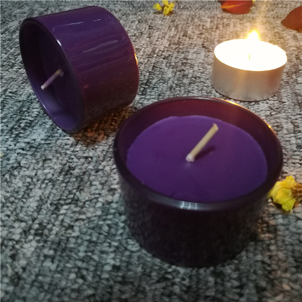 Decorative purple scented 1% lavender glass cup tealight candles