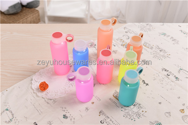 2016 Latest Best Price Jelly Color Glass Water Bottle With Soft Colorful Silicone Sleeve