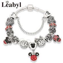 Милое красное платье принцессы с эмалью, браслет из тибетского серебра с Минни, браслет с бусинами, браслет с кристаллами для девочек(Китай)
