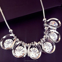 Korean jewelry rhinestones crystal chocker necklace fashion crystal statement necklace