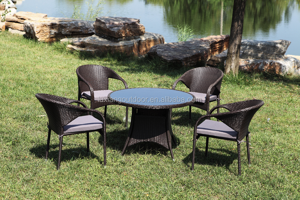 All-weather Charming home garden outdoor bookstore club bistro furniture rattan cafe table and chairs LX-T-023#