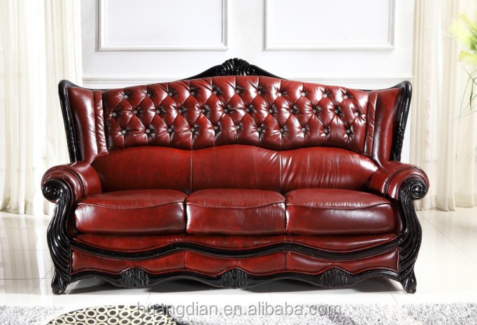 China furniture export antique European style living room furniture red leather or pu chesterfield sofa