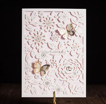 Wishmade Laser cut and embossed elegant flowers wedding invitation card with blank inner paper and white envelope &seal