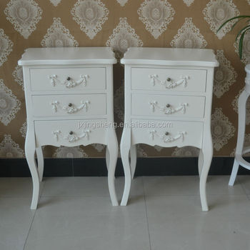 French Country Style Ivory Nightstand Unique Wooden Chest Of 3 Drawers  Accent Wall Console Table Side