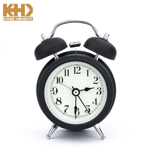 KH-0242 KINGHEIGHT 2018 Promotional Round Metal Retro Desktop Double Bell Table Mechanical Alarm Clock
