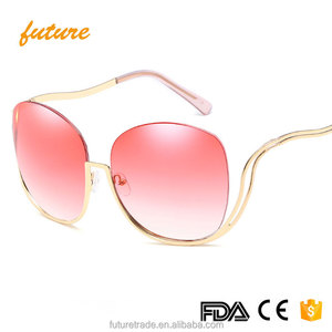 Latest Rimless Ocean Lens Sexy Ladies Fashionable Sunglasses Oversized Metal Frame Sun Glasses For Women Oculos De Sol J66145