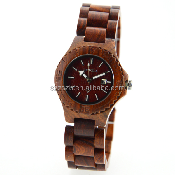 Famous brand bewell bambu reloj small size wooden watch for ladies