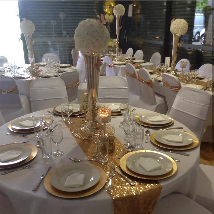 Nhà máy giá 12x108 inch ăn phòng khách wedding banquet đảng nhà tăng vàng sequin bảng runner