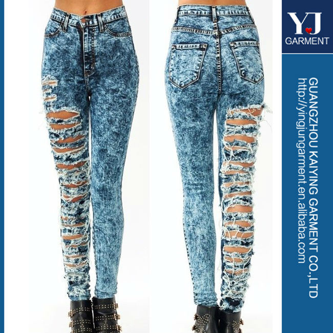 New! High Waisted Acid Mineral Wash Distressed Ripped Skinny Denim ...