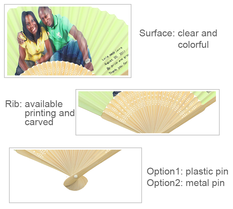 Customized Wedding Favors Bamboo Paper Hand Held Fan For Invitation
