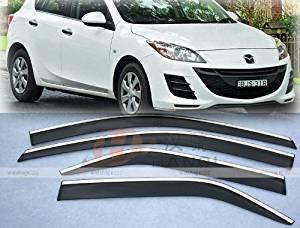 WellVisors Side Rain Guard Window Visors Deflectors With Black Trim For 10-13 Mazda 3 4Dr Sedan 2010 2011 2012 2013 10 11 12 13 Mazda 3