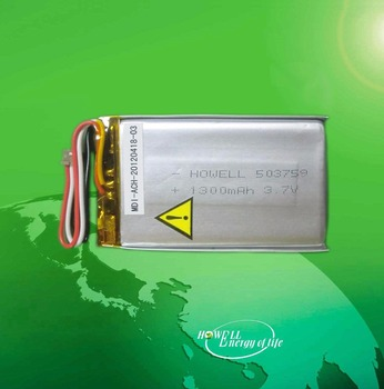 CE Certificate 503759 Rechargeable 3.7V 1300mAh Li-polymer Batteries For GPS Tracking