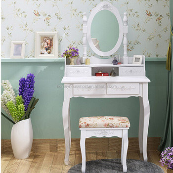 Wood Furniture Makeup Vanity Dressing Table With Mirror And Stool Set Modern