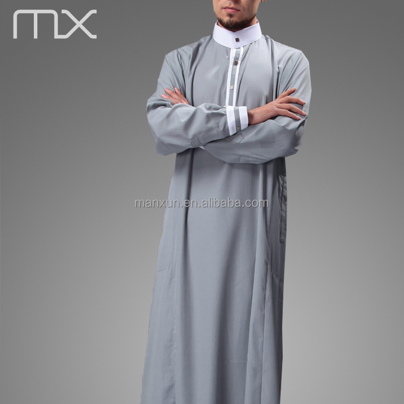 2016 New Design Mens Islamic Thobe Saudi Style Robe Arab Daffah ...