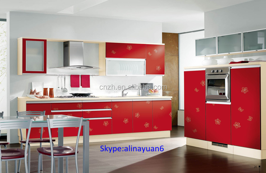 Modern Acrylic High Glossy Vinous Color Kitchen Cabinets