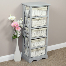 Grey Painted Wooden Living Room Furniture Wicker Baskets Storage Units Cabinets