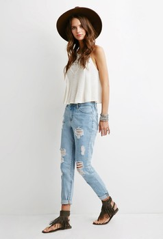 Distressed High Rise Skinny Boyfriend Jeans For Women Oem Denim ...