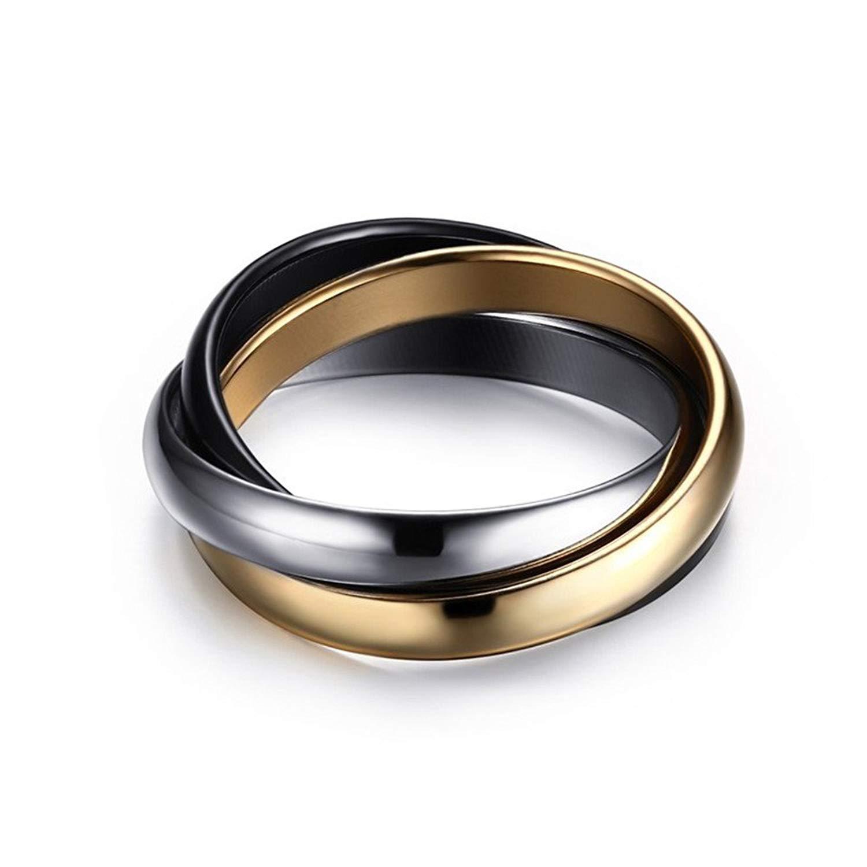 Kemosix Womens Titanium Steel Trinity Rings Silver Gold Black Tri-Tone Interlocked Rolling Ring