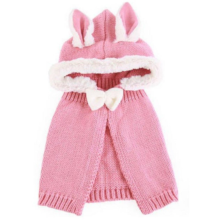 Kids Winter Rabbit Lovely Warm Scarf Shawl Cape Knit Earflap Hat Cap Hooded Cloak