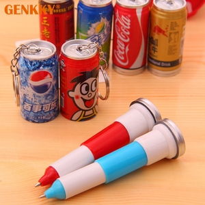 New Cute school student supplies Creative Gifts Retractable plastic drink cans shape keychain pens