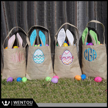 Monogram Burlap Bunny Ear Easter Basket