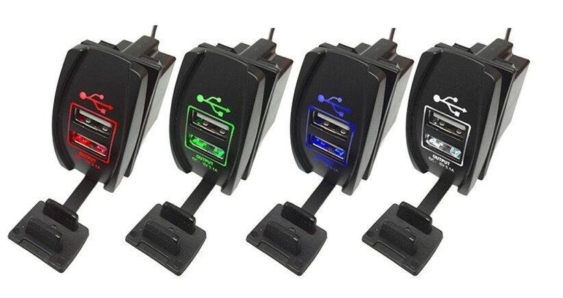 12v 24v Waterproof Dual Usb Charger Socket Panel Mount