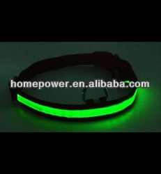 LED Flashing Green Light Weaving Dog Collar