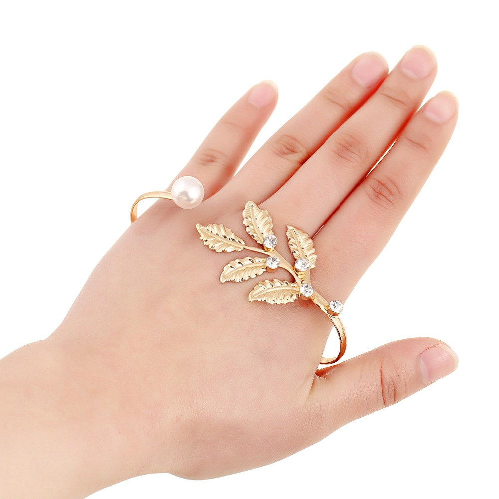 New Design Hand Ornaments Big Gold Leaf With White Pearl Round ...