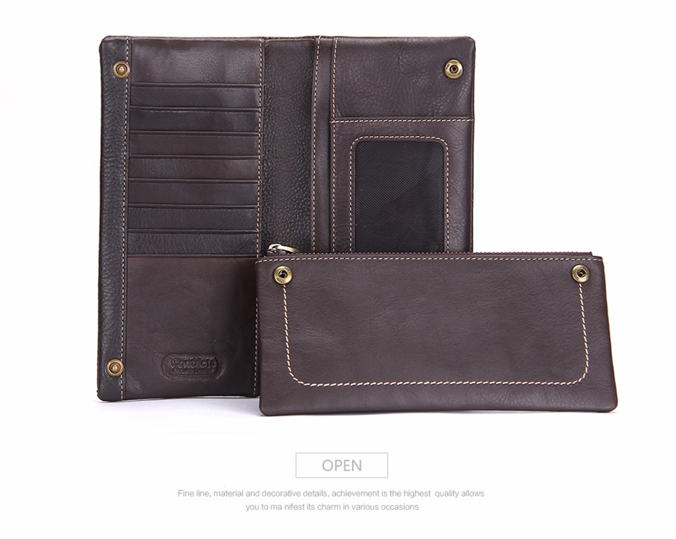 Whole Sale Casual Business Long Zipper Design Genuine Leather Mens Wallets with Phone Pocket