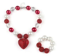 TF-W01160624034 red love diamond pendants handmade bubblegum necklaces bracelets 2 pieces set