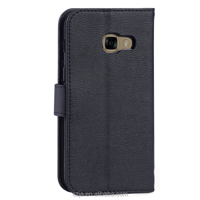 Wholesale customization Waxy Leather pu leather wallet for samsung galaxy c7 pro case leather back case