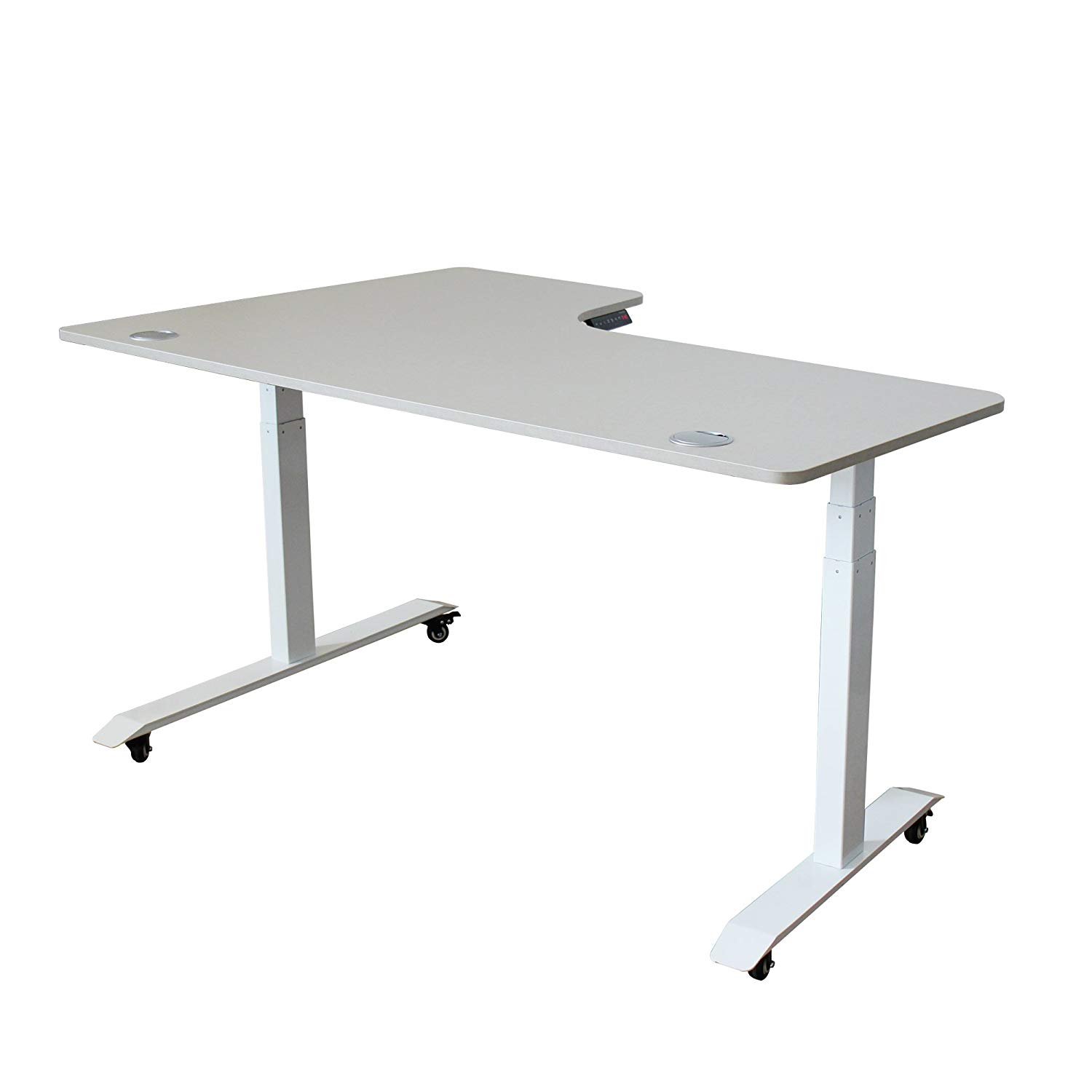 Azure Sky A3-63L Ergonomic 63-in 3 Memory Buttons LED Electric Automatic Height Adjustable Sit to Stand L-Shaped Corner Work Office Desk with Black Legs