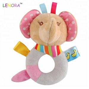 New animal series baby soft bear plush hold stick baby O shape teddy bear elephant hippo hold shake bell plush toy
