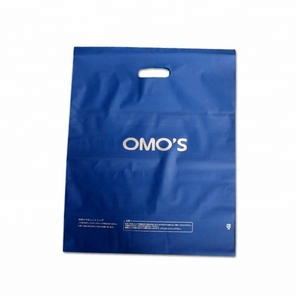 Biodegradable low density merchandise poly bags blue eco plastic gift grocery shopping die cut handle bag for sale