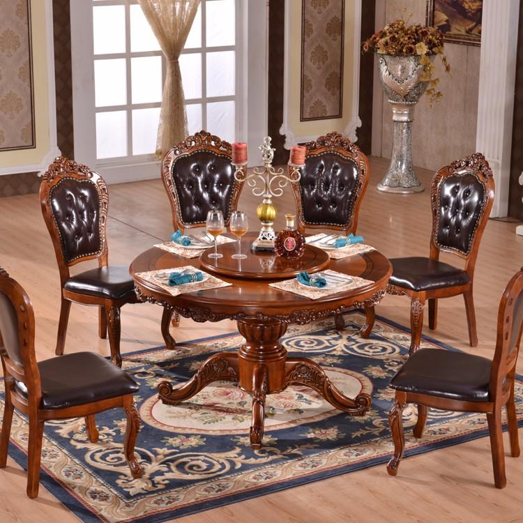 Tavolo Con 6 Sedie In Legno.Antico Europeo Di Stile Di Gomma Tavolo Da Pranzo In Legno Set Con