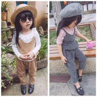 2016 European and American fashion Girls cotton halter top + pants suit clothing suit