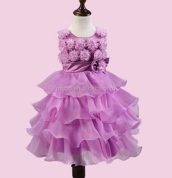 Púrpura Hermoso De La Boda Vestido Para Niña Llena Flores Decorar ...