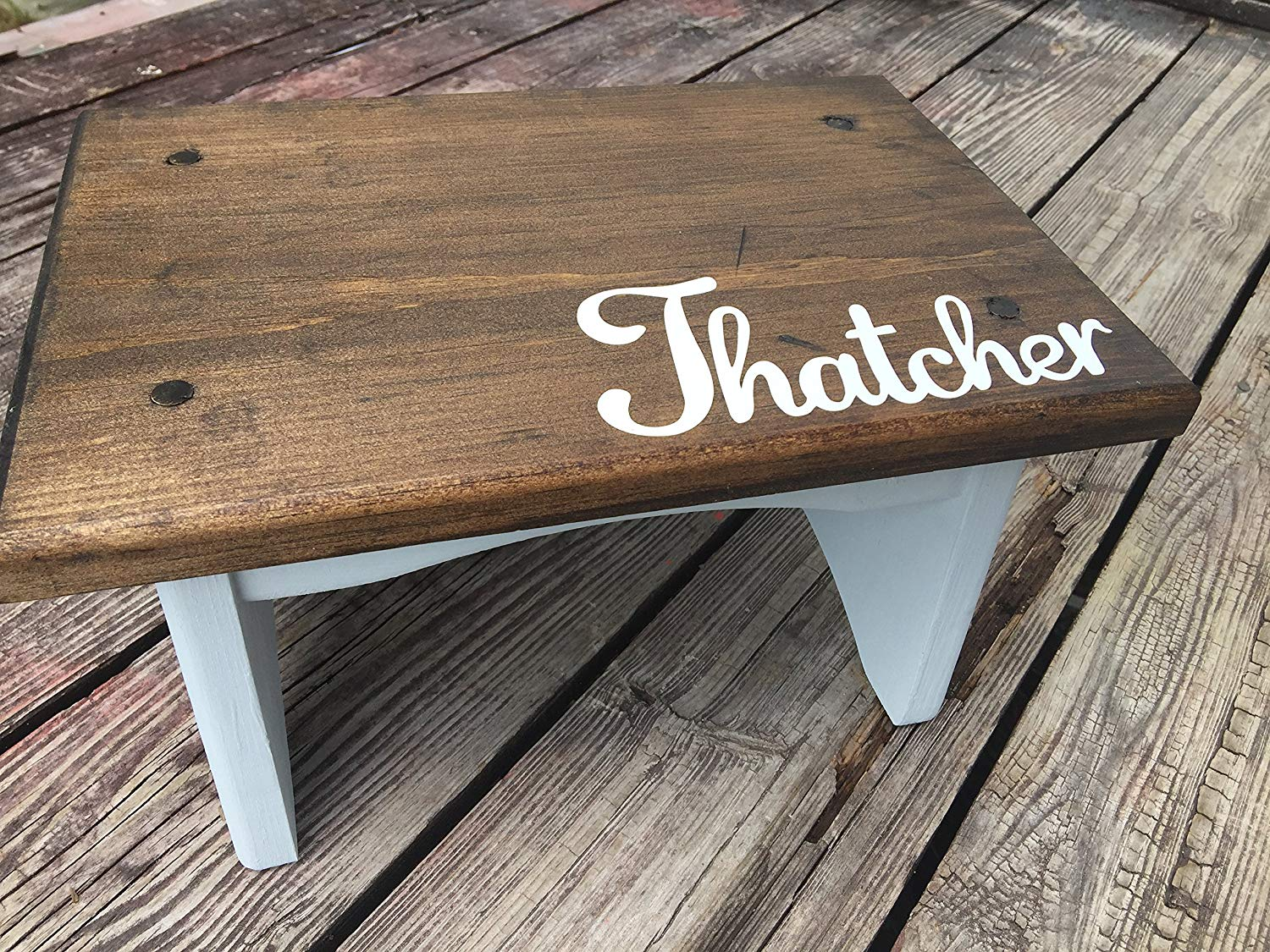 Personalized Child's Step Stool with walnut stain and gray, white, pink, aqua, walnut, mint (any color) on bottom, Custom Request Accepted ,Put Childs name in notes