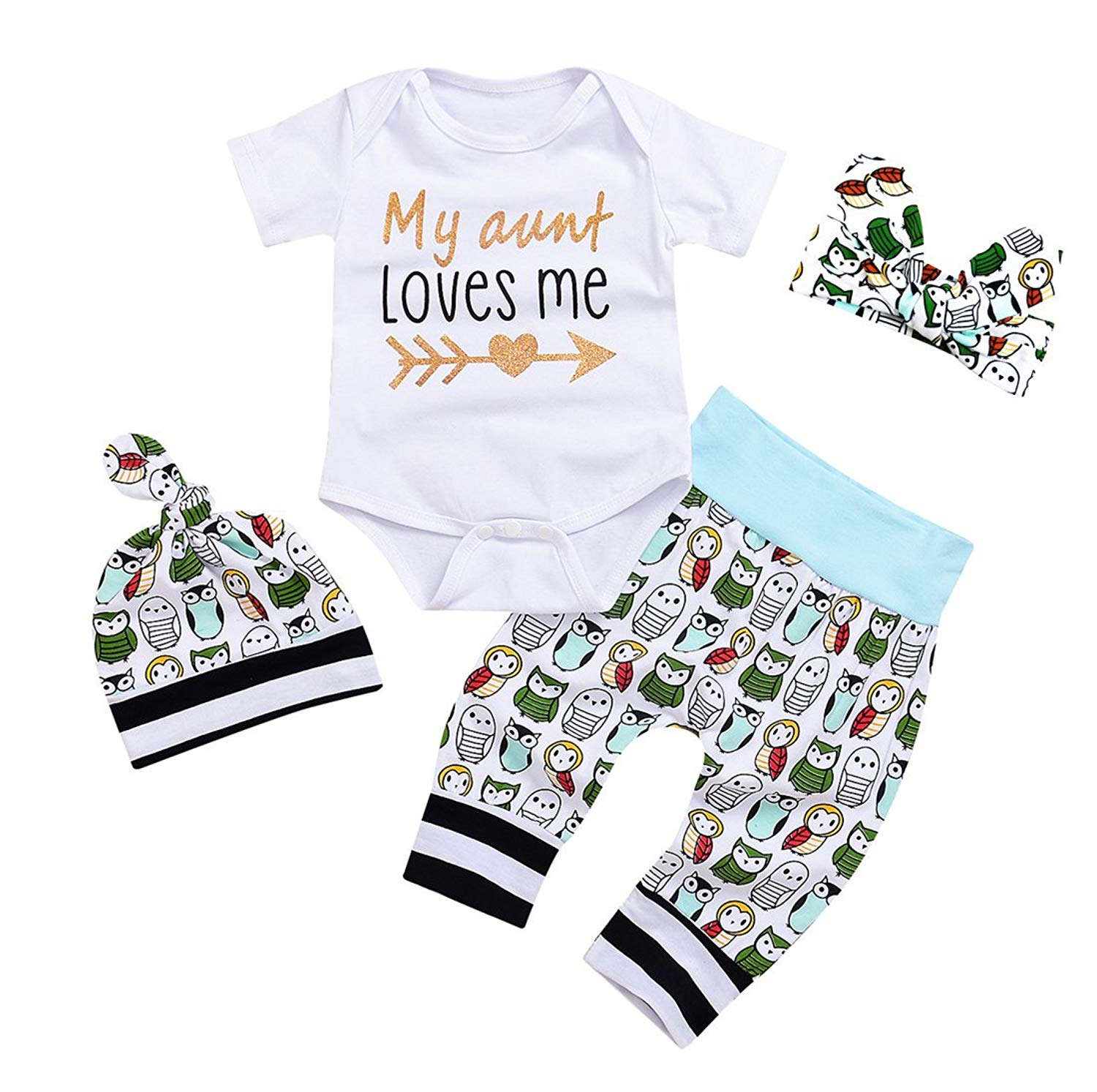 20b9b3fb6b3 Get Quotations · Newborn Baby Girls Owls Outfit Set 4pcs Unisex Baby Clothes  My Aunt Loves Me